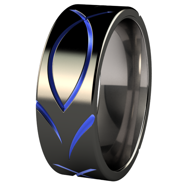 Ichthus Black and Colored-none-Titanium Rings