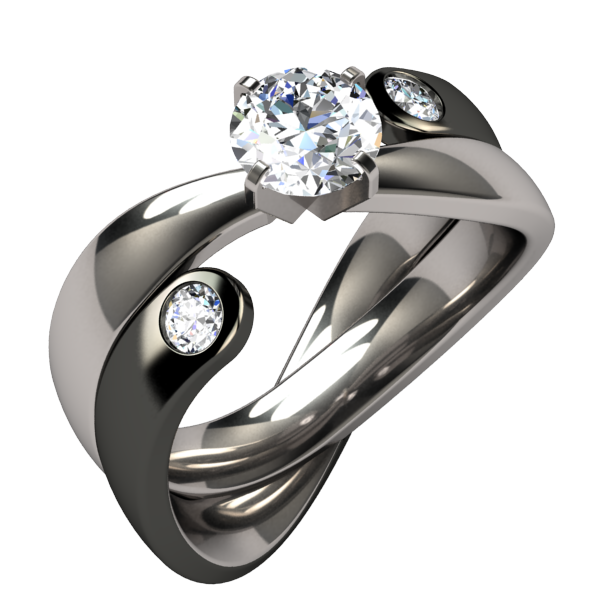 Serendipitous Diamond 2Tone Wedding Set - C-none-Titanium Rings