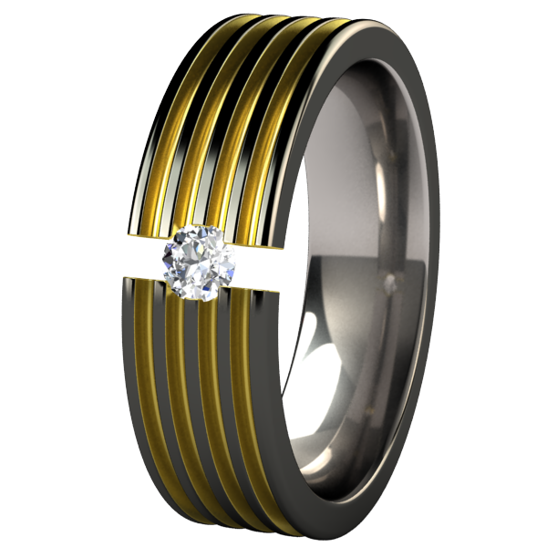 Kompressor Black and Colored Tension Setting-none-Titanium Rings