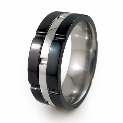 Chronos Black Titanium Ring with  Silver Inlay