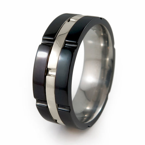 CHRONOS BLACK TITANIUM RING | 14K White Gold