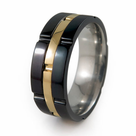 CHRONOS BLACK TITANIUM RING WITH 14K Yellow Gold