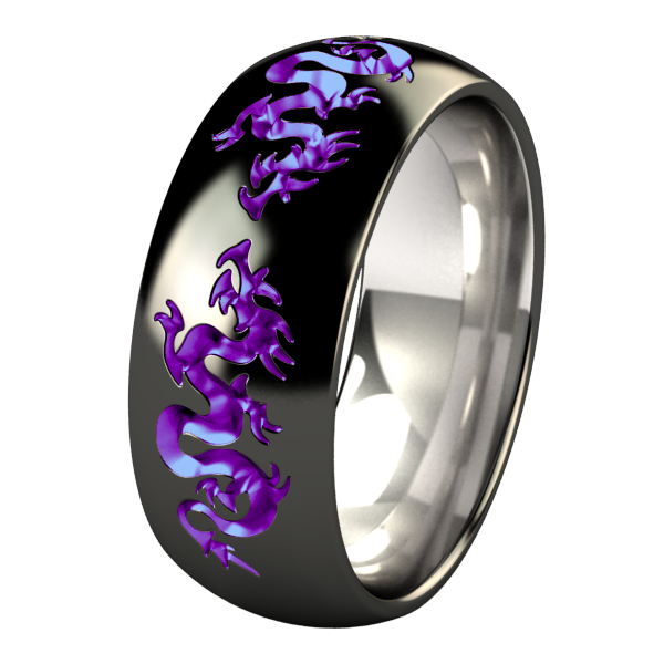 Liung Dome - Black & Colored-none-Titanium Rings