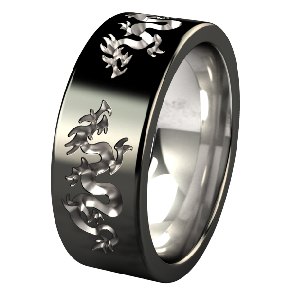 Liung - Black Two Toned-none-Titanium Rings