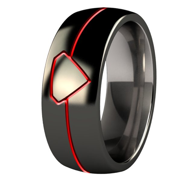 Lunar Eclipse black and enameled - custom-none-Titanium Rings