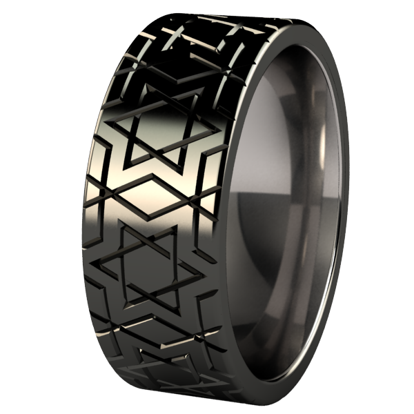 Magen David - Black-none-Titanium Rings