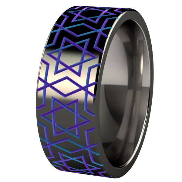 Magen David - Black & Colored-none-Titanium Rings