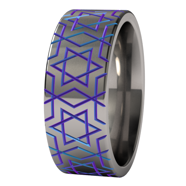 Magen David - Colored-none-Titanium Rings