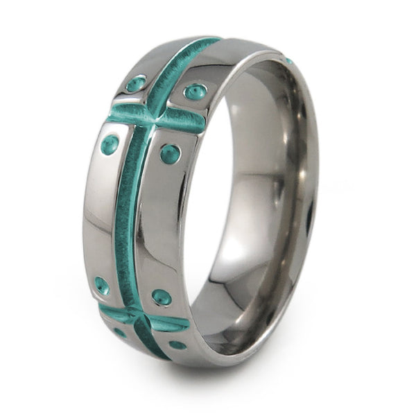 Mens Titanium Ring with armor and shield design. Can have a color accent and finish.