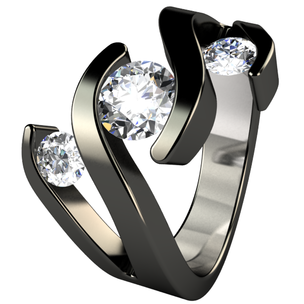 Meghan Multi Stone Diamond - Black-none-Titanium Rings