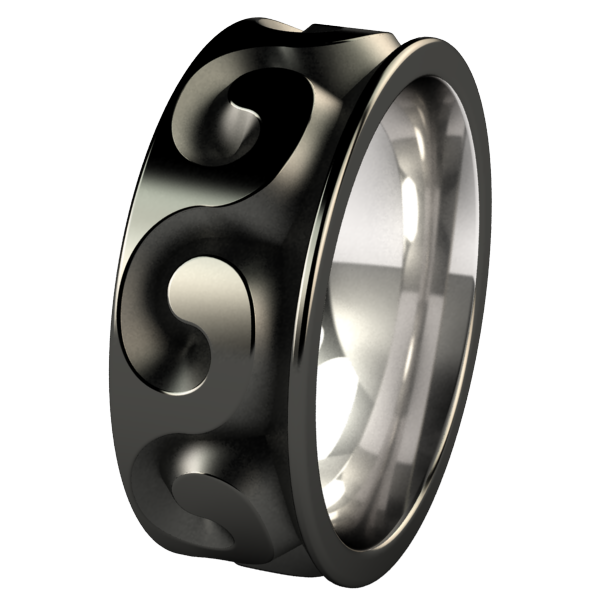 Neptune Black-none-Titanium Rings
