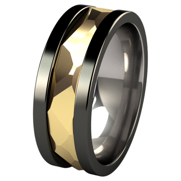Nugget Yellow Gold Inlay - Black-none-Titanium Rings