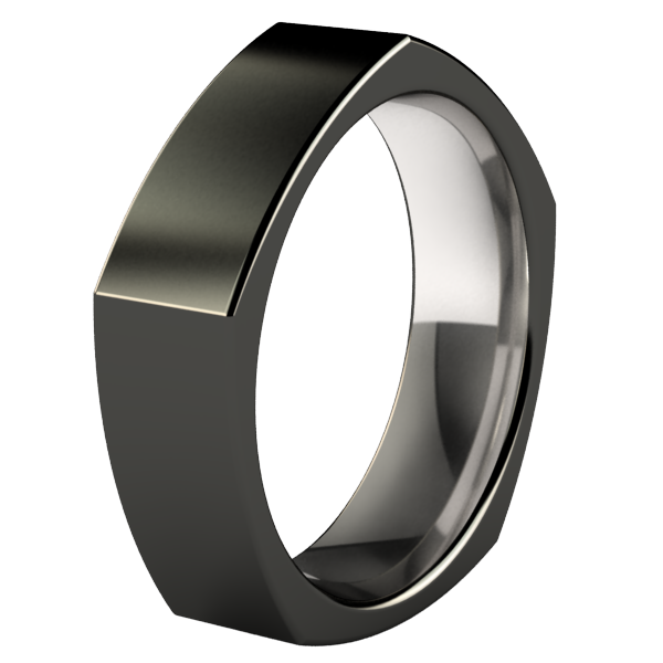 Penta - Black-none-Titanium Rings