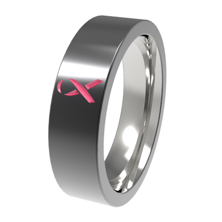Pink Ribbon - Black-none-Titanium Rings