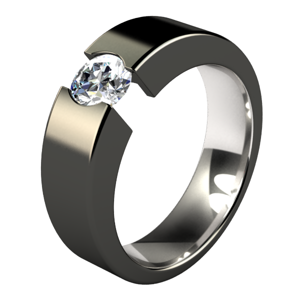 Proxima Titanium Engagement Ring with Gemstone