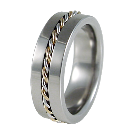 DNA Platinum and yellow Gold inlay-none-Titanium Rings