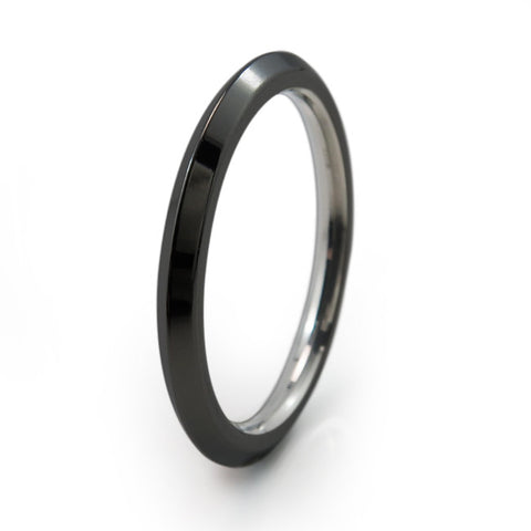 Black Pyramid Stackable Titanium Ring