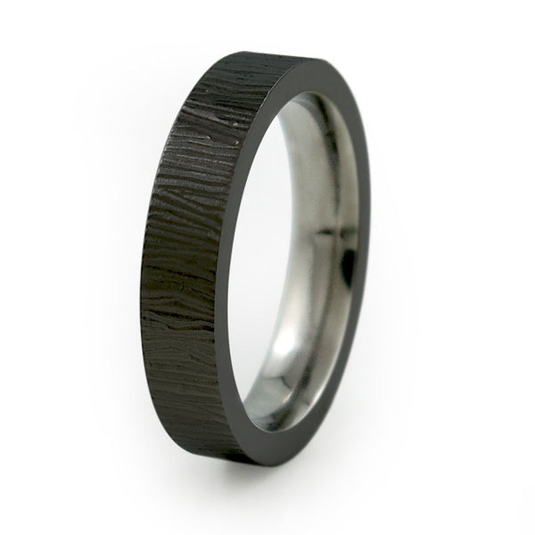 Ladies Black Titanium Ring  with elegant carved etching around the ring