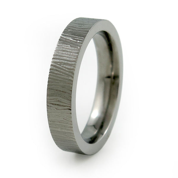 Ladies Titanium Ring  with elegant carved etching around the ring