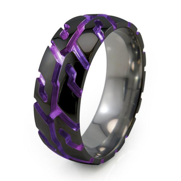 Tire Tread | Black Titanium Rings