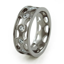 stunning carved unisex Titanium band which is adorned with 12, 3mm Cubic Zirconias.