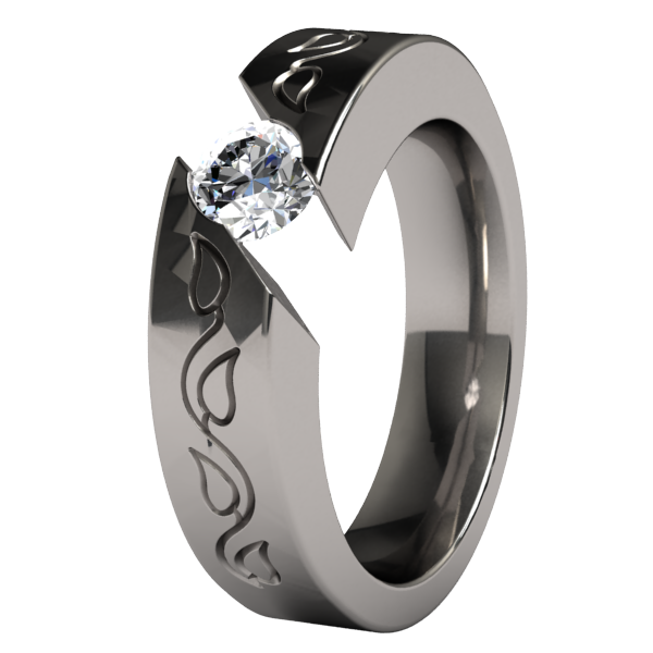 Samsara Vineleaves Solitaire Titanium Ring