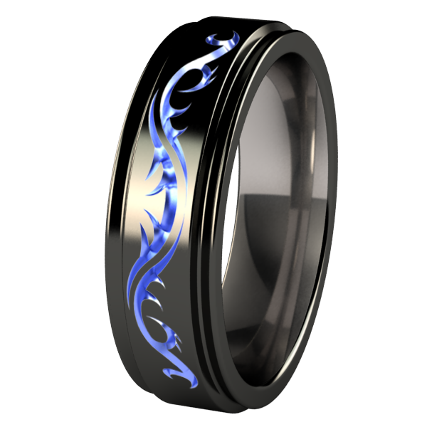 Samurai - Black and colored - custom-none-Titanium Rings