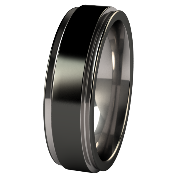 Samurai - Black Two Toned-none-Titanium Rings