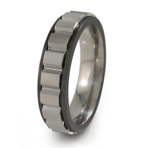 Spinning Blocks Titanium Fidget Ring | Black edges and natural spinner + Color