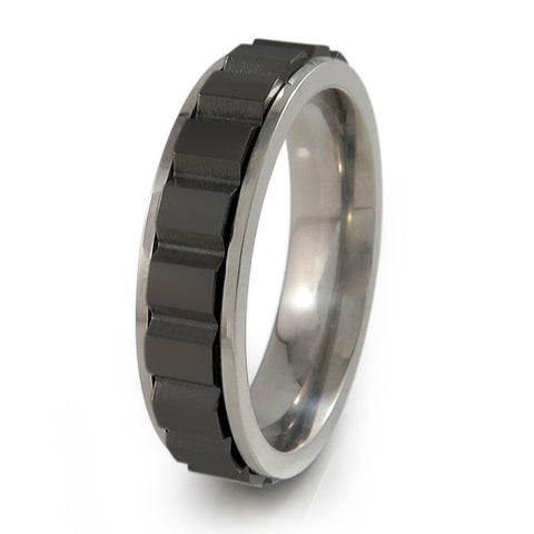 Spinning Blocks Titanium Fidget Titanium Ring | Natural edges and black spinner + Color