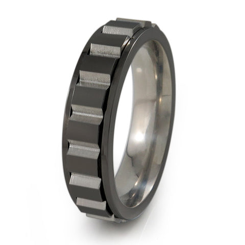 Spinning Blocks Titanium Fidget Titanium Ring | Black + Color