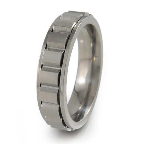 Spinning Blocks Titanium Fidget Titanium t Ring | Natural + Color