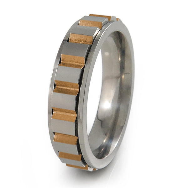 mens mechanical spinner fidget ring.  Centre part moves as you fidget/spin it.