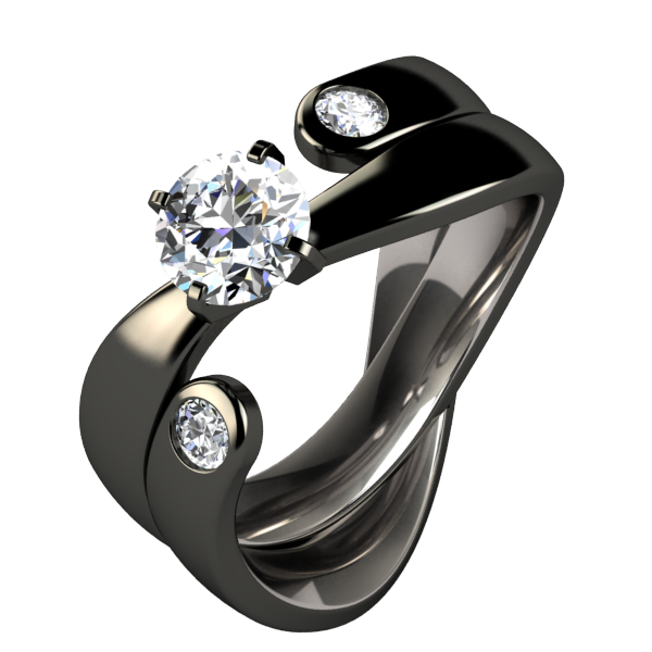 Serendipitous Diamond Black Wedding Set-none-Titanium Rings