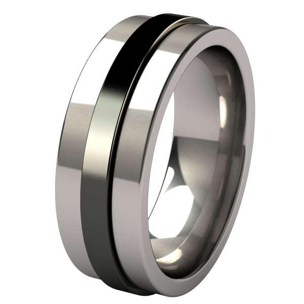 Spinner - Black Two Toned-none-Titanium Rings