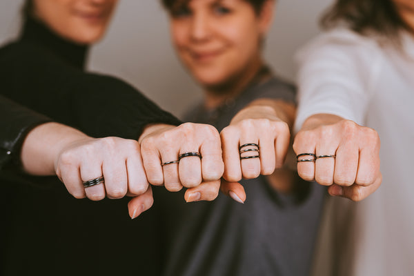 Black Square Stackable Titanium Rings