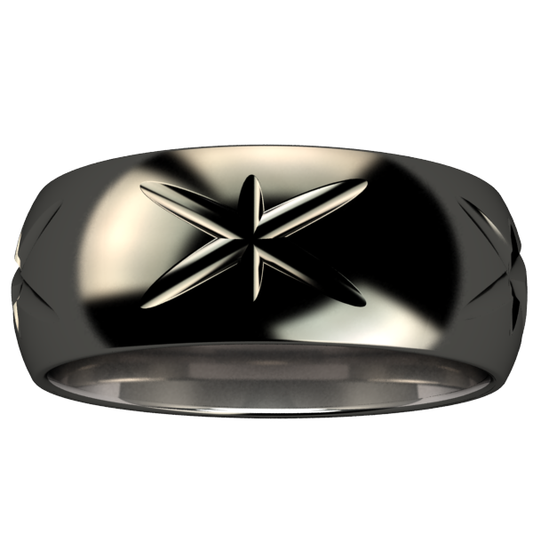 Starlight Black-none-Titanium Rings