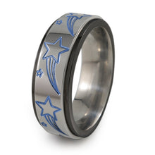 Shooting Stars black titanium fidget spinner ring