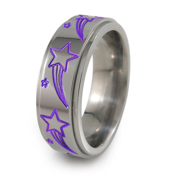 Shooting Stars titanium fidget spinner ring