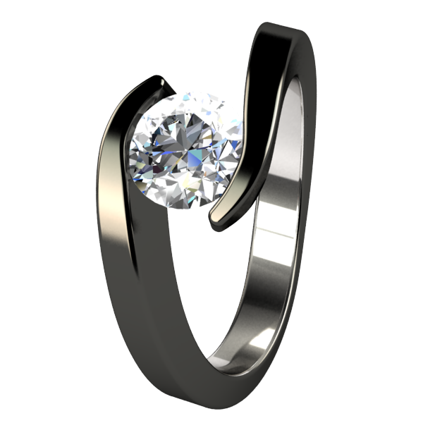 Stella Diamond Solitaire - Black-none-Titanium Rings