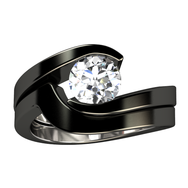 Stella Solitaire Gem - Black-none-Titanium Rings