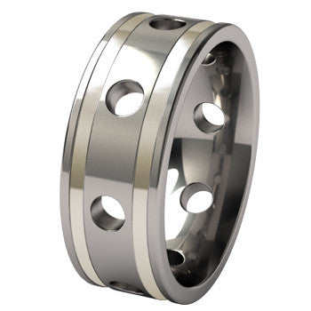 Submariner with double white gold inlay - custom ring-none-Titanium Rings