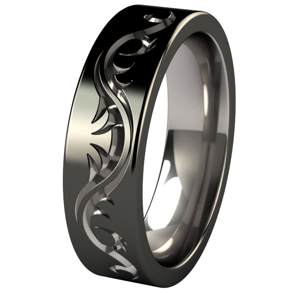 Tattoo Flat - Black 2Tone-none-Titanium Rings