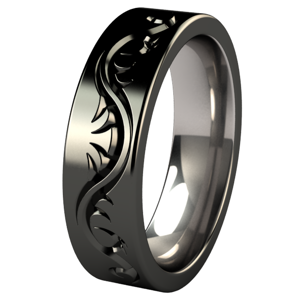 Tattoo Flat - Black-none-Titanium Rings