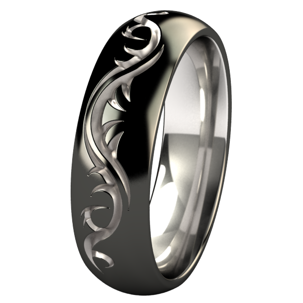 Tattoo Dome - Black Two Toned-none-Titanium Rings