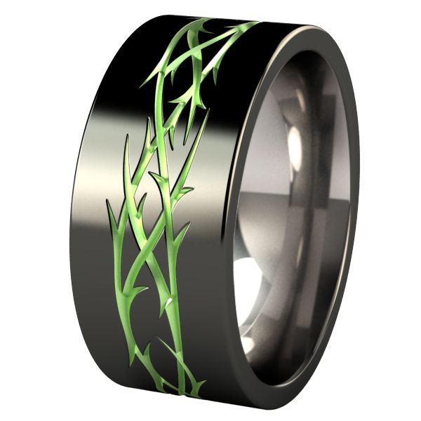 Thorns - Black and green enamel-none-Titanium Rings