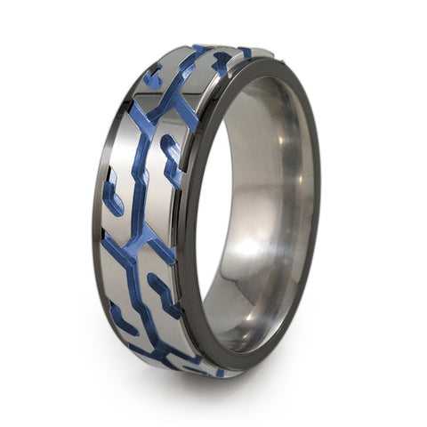 Street Performance! Titanium Fidget Ring | Black Edge and Natural silver color spinner + Color