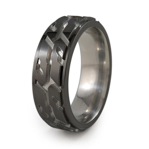Street Performance!  Titanium Fidget Ring | All Black + Color