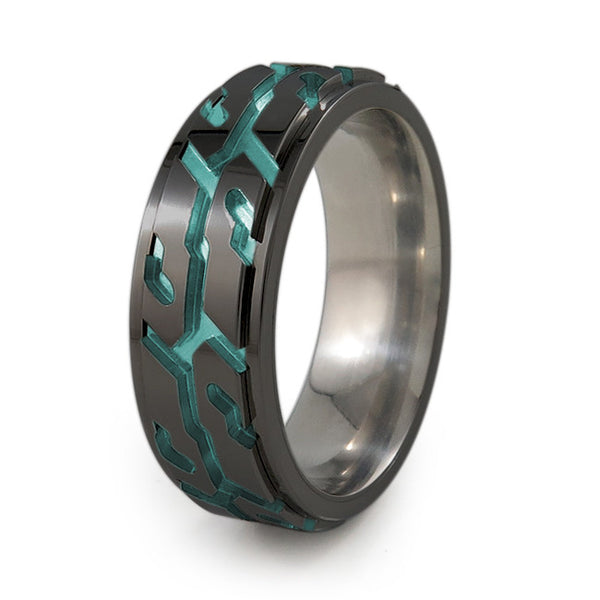 Street Performance black titanium fidget spinner ring