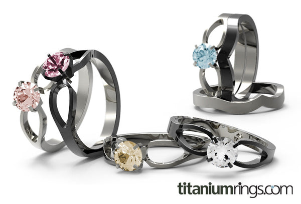 To Infinity Solitaire - Black-none-Titanium Rings